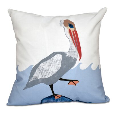 Boubacar Bird Wave Animal Print Throw Pillow Size: 16 H x 16 W, Color: Gray
