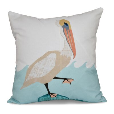 Beach Vacation Bird Wave Animal Print Throw Pillow Size: 26 H x 26 W, Color: Taupe