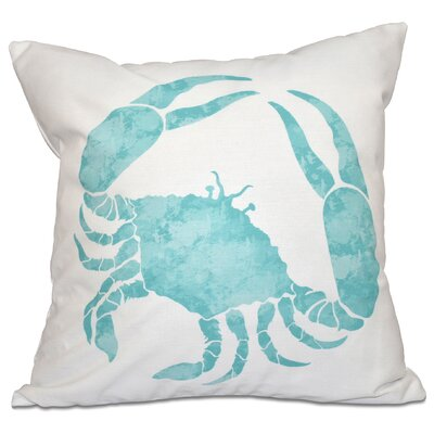 Boubacar Crab Throw Pillow Size: 26 H x 26 W, Color: Aqua