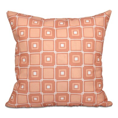 Cedarville Square Geometric Print Throw Pillow Size: 26 H x 26 W, Color: Coral