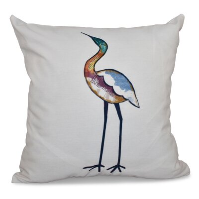 Cedarville Bird Fashion Animal Print Outdoor Throw Pillow Size: 18 H x 18 W, Color: White