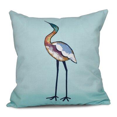 Cedarville Bird Fashion Animal Print Outdoor Throw Pillow Size: 18 H x 18 W, Color: Aqua
