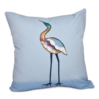 Cedarville Bird Fashion Animal Print Outdoor Throw Pillow Size: 18 H x 18 W, Color: Blue