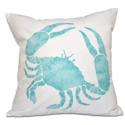 Rocio Crab Outdoor Throw Pillow Size: 18 H x 18 W, Color: Aqua
