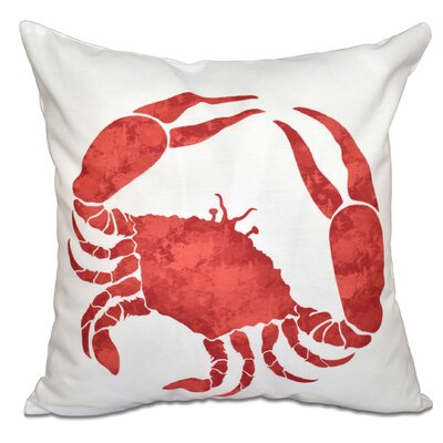 Rocio Crab Outdoor Throw Pillow Size: 18 H x 18 W, Color: Coral
