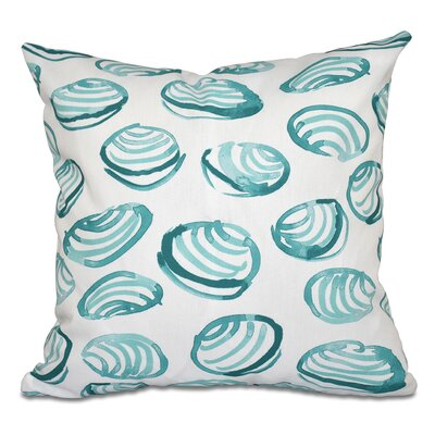 Beach Vacation Clams Geometric Print Outdoor Throw Pillow Size: 18