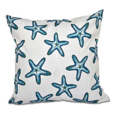 Cedarville Soft Starfish Geometric Print Outdoor Throw Pillow Size: 18 H x 18 W, Color: White/Teal
