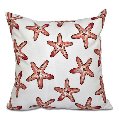 Cedarville Soft Starfish Geometric Print Outdoor Throw Pillow Size: 18 H x 18 W, Color: White/Coral