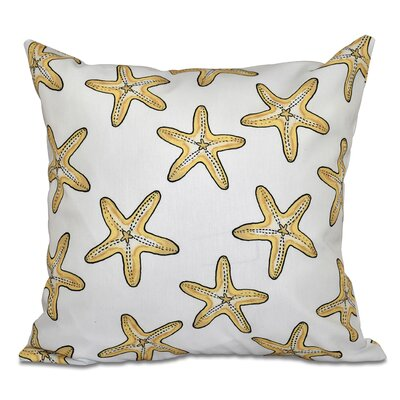 Rocio Soft Starfish Geometric Print Outdoor Throw Pillow Size: 18 H x 18 W, Color: White/Gold
