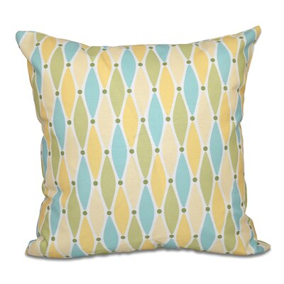 Boubacar Wavy Splash Geometric Print Outdoor Throw Pillow Size: 18 H x 18 W, Color: Yellow