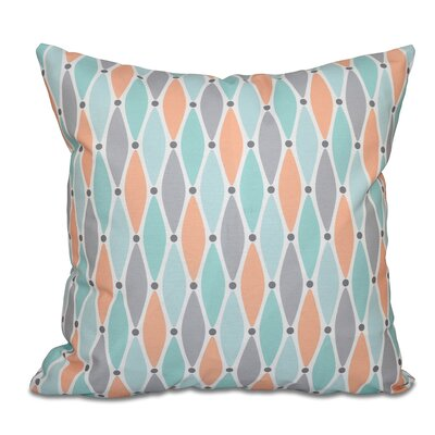 Boubacar Wavy Splash Geometric Print Outdoor Throw Pillow Size: 18 H x 18 W, Color: Aqua