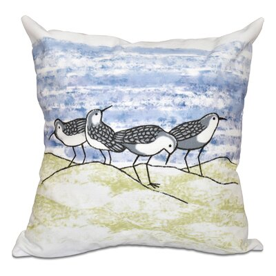 Rocio Sandpipers Outdoor Throw Pillow Size: 18 H x 18 W, Color: Gray