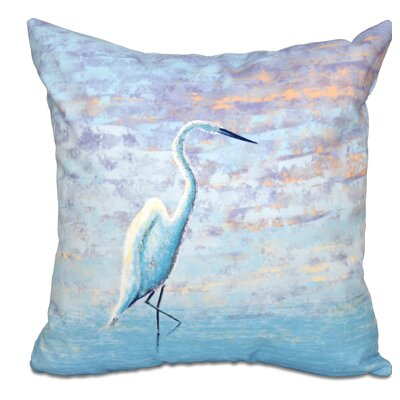 Boubacar Egret Animal Print Outdoor Throw Pillow Size: 18 H x 18 W
