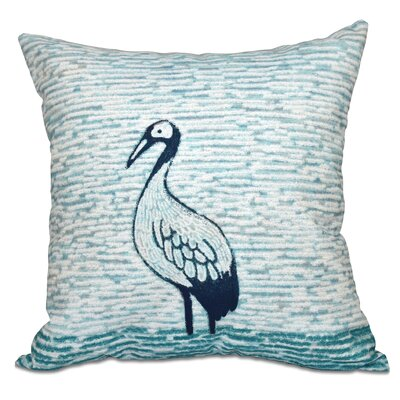 Boubacar Bird Square Outdoor Throw Pillow Size: 18 H x 18 W, Color: Aqua