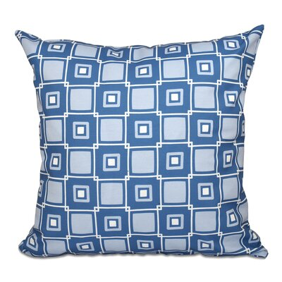 Cedarville Square Geometric Print Outdoor Throw Pillow Size: 18 H x 18 W, Color: Blue
