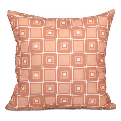 Rocio Square Pop Geometric Print Outdoor Throw Pillow Size: 18 H x 18 W, Color: Coral