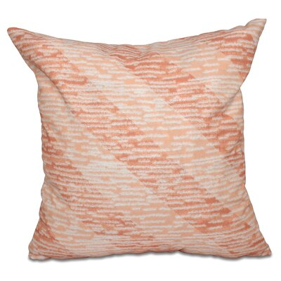 Surrey Marled Knit Stripe Geometric Print Outdoor Throw Pillow Size: 20 H x 20 W, Color: Coral