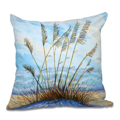 Rocio Happy Place Floral Print Outdoor Throw Pillow Size: 18 H x 18 W, Color: Dark Blue