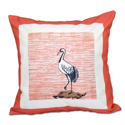 Surrey Sandbar Animal Print Outdoor Throw Pillow Size: 18 H x 18 W, Color: Coral