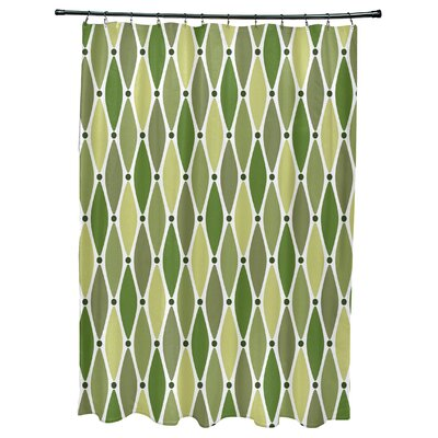 Cedarville Wavy Geometric Print Shower Curtain with 12 Button Holes Color: Green