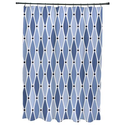 Cedarville Wavy Geometric Print Shower Curtain with 12 Button Holes Color: Blue