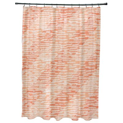 Cedarville Marled Knit Stripe Geometric Print Shower Curtain Color: Coral