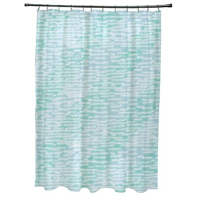 Cedarville Marled Knit Stripe Geometric Print Shower Curtain Color: Aqua
