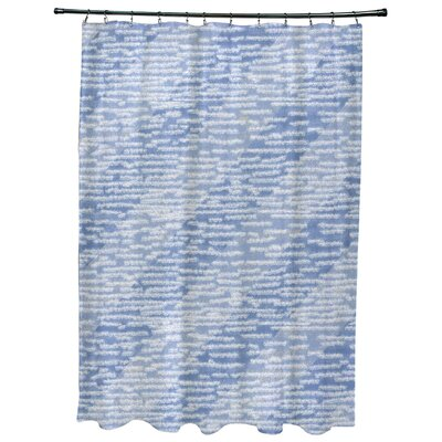 Rocio Marled Knit Stripe Geometric Print Shower Curtain Color: Blue