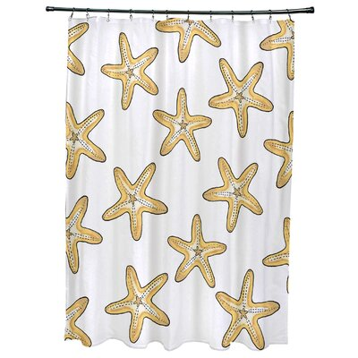 Oakley Soft Starfish Geometric Print Shower Curtain Color: Gold