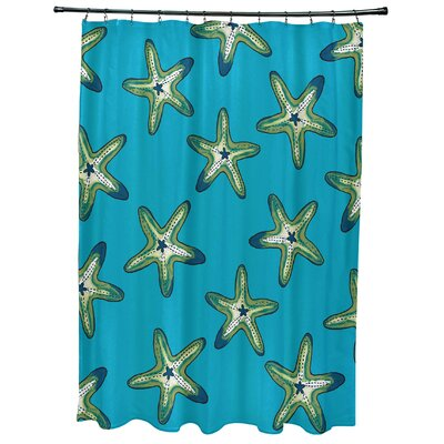 Oakley Soft Starfish Geometric Print Shower Curtain Color: Turquoise/Green