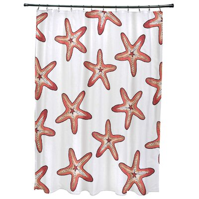 Oakley Soft Starfish Geometric Print Shower Curtain Color: Coral
