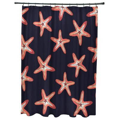 Oakley Soft Starfish Geometric Print Shower Curtain Color: Navy Blue/Coral
