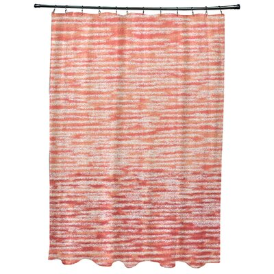 Oakley Ocean View Geometric Print Shower Curtain Color: Coral