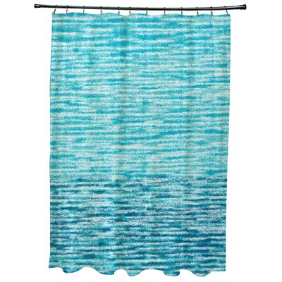 East Helena Ocean View Geometric Print Shower Curtain Color: Teal