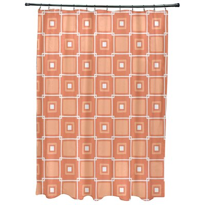 Cedarville Square Geometric Print Shower Curtain Color: Coral