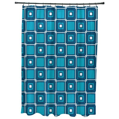 Cedarville Square Geometric Print Shower Curtain Color: Teal