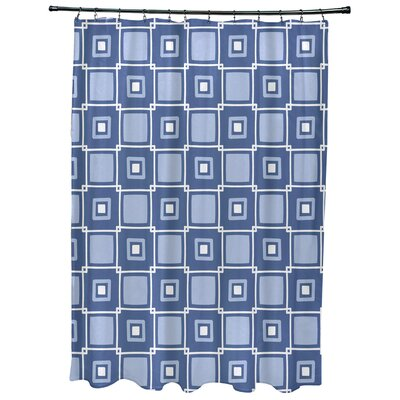 Cedarville Square Geometric Print Shower Curtain Color: Blue