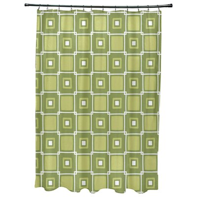 Cedarville Square Geometric Print Shower Curtain Color: Green