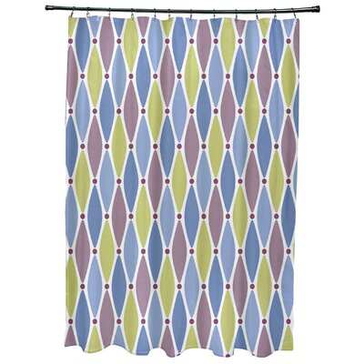 Cedarville Wavy Geometric Print Shower Curtain Color: Blue