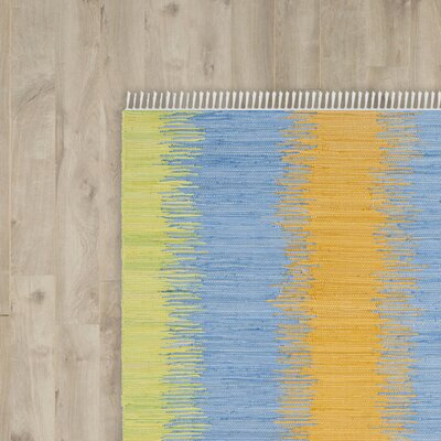 Ona Hand-Woven Green / Gold Area Rug Rug Size: Runner 23 x 7