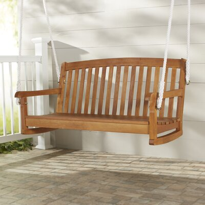 Portland Hardwood Hanging Porch Swing with Rope Size: 5 W