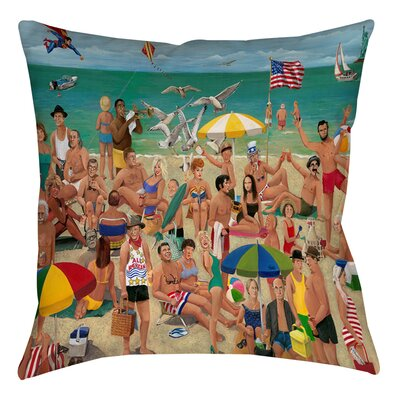 Whisper Walk Beach Printed Throw Pillow Size: 14 H x 14 W x 3 D
