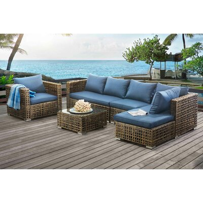 Eulalie River Kyle Small Space Modular 5 Piece Deep Seating Group with Cushion