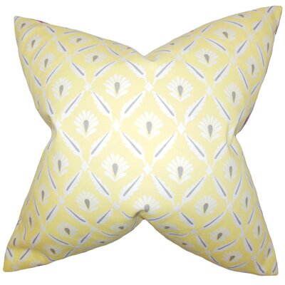 Oliver Geometric Cotton Throw Pillow Color: Lemon, Size: 18 x 18