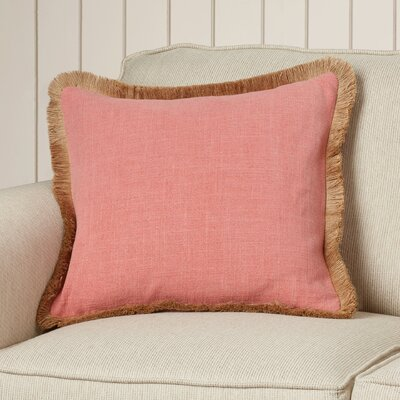 Wendell Linen Throw Pillow Size: 18 H x 18 W x 4 D, Color: Coral/Beige