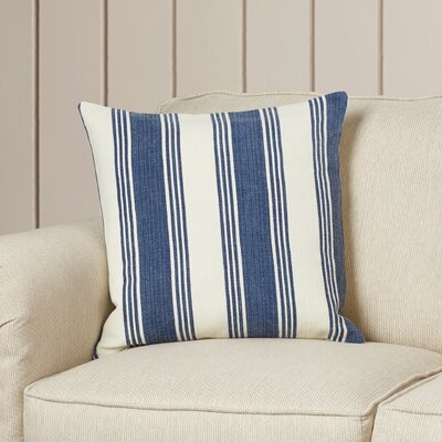 Douglasville Cotton Throw Pillow Size: 18 H x 18 W x 4 D, Color: Navy/Ivory