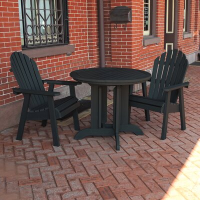 Amiya 3 Piece Dining Set Finish: Black