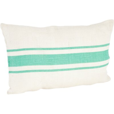 Fairfax Striped Design Jute Throw Pillow Color: Sea Green