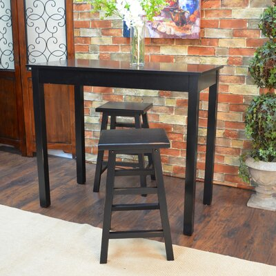 Waquoit 3 Piece Pub Table Set Color: Black