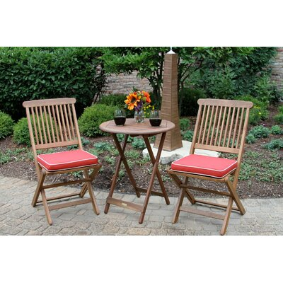Sunny Isles Round 3 Piece Bistro Set with Cushion Color: Red